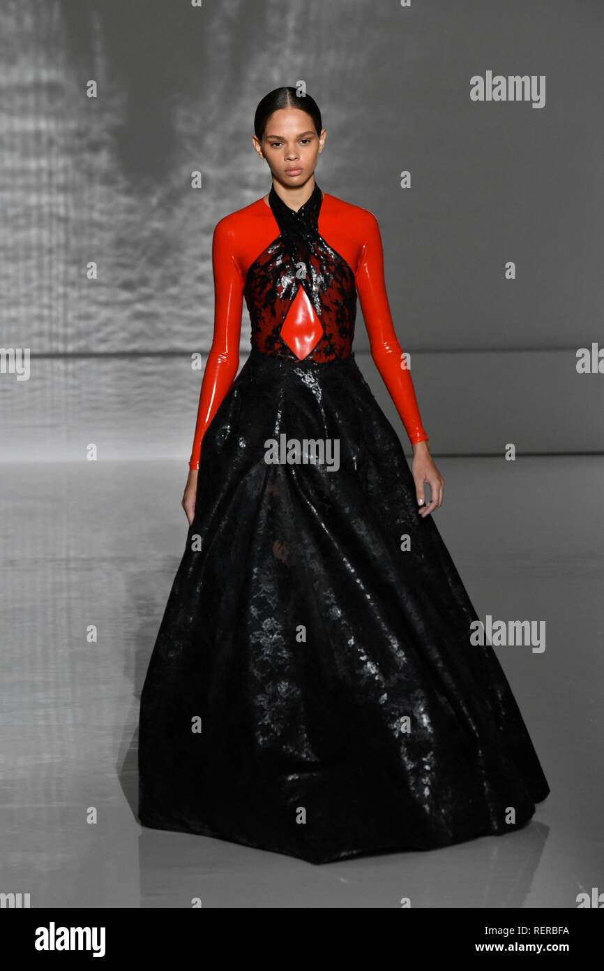 aa6b9a43a4 A model presents a creation of Givenchy during the Haute Couture 2019  Spring Summer collection show in Paris
