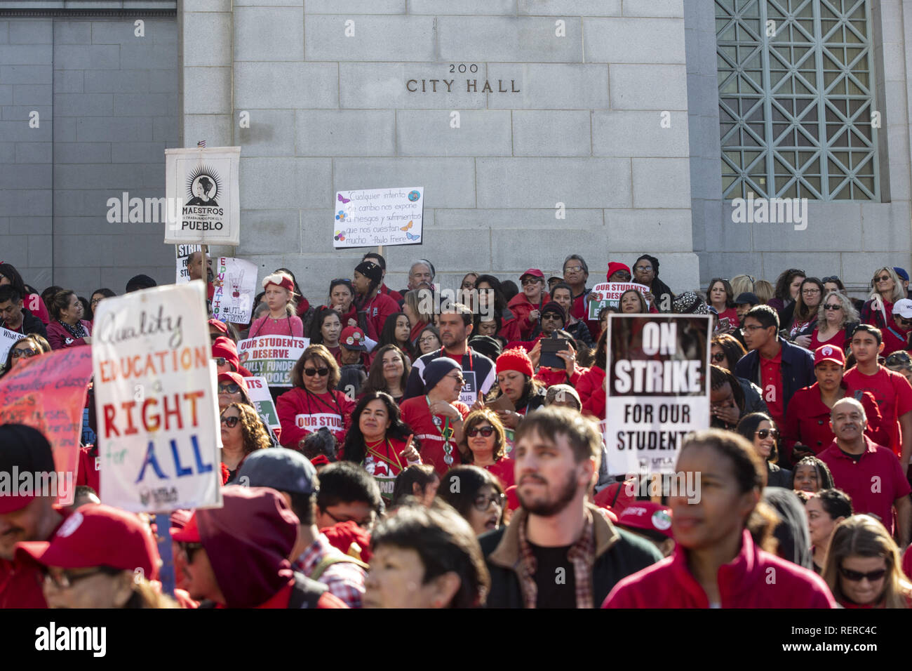 Los Angeles, California, USA. 22nd Jan, 2019. UTLA members and teachers celebrate the announcement of an agreement to end a nine-day LAUSD teachers strike at a downtown LA rally at city hall Tuesday, Jan. 22, 2019. Credit: Allison Zaucha/ZUMA Wire/Alamy Live News - Stock Image