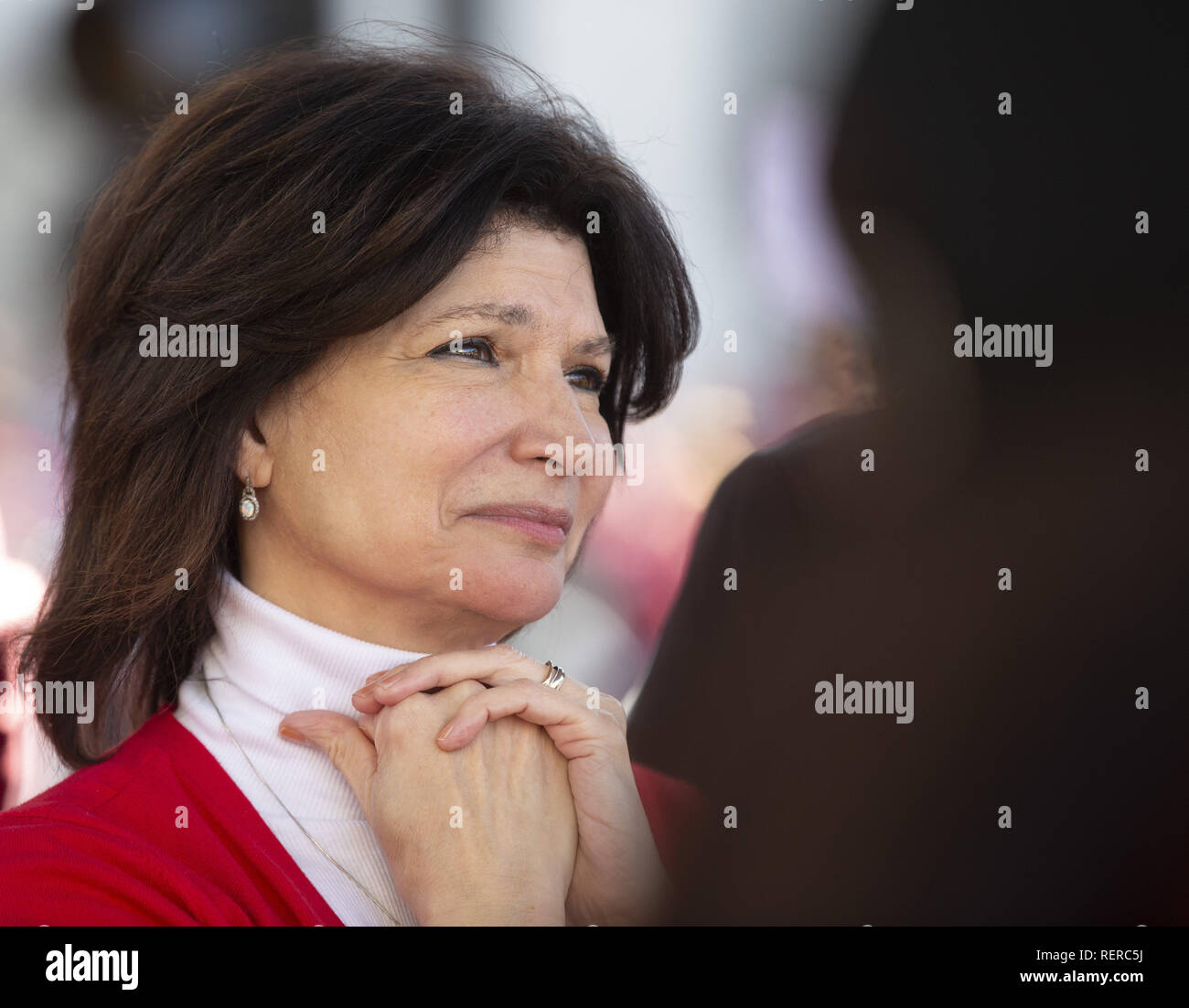 Los Angeles, California, USA. 22nd Jan, 2019. Lily Eskelsen Garc'a watches speakers at a downtown Los Angeles rally after an agreement between UTLA and the LAUSD was reached Tuesday, January 22, 2019. Credit: Allison Zaucha/ZUMA Wire/Alamy Live News - Stock Image