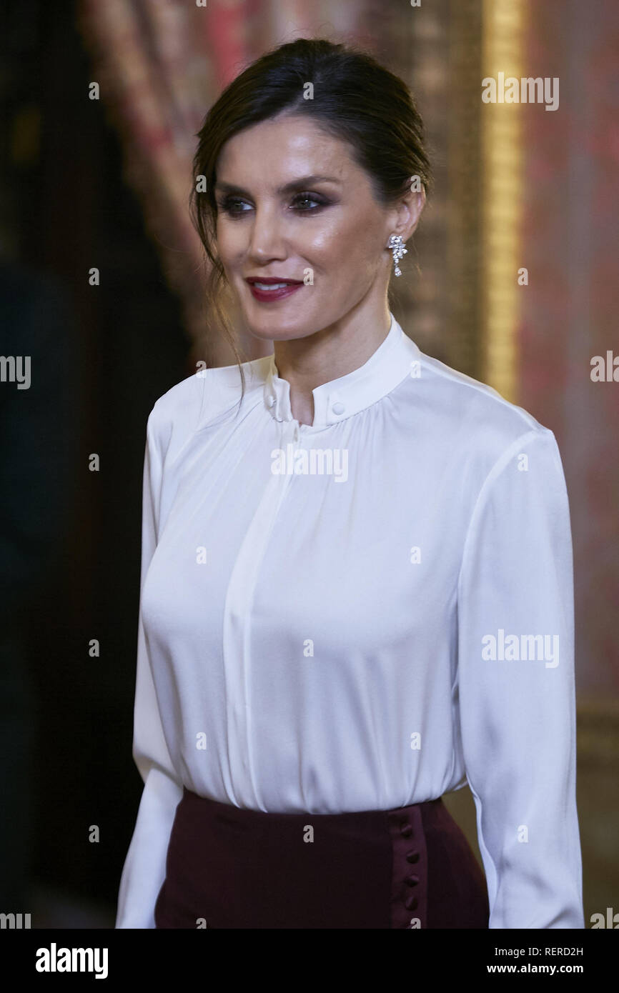 Madrid, Spain. 22nd Jan, 2019. Queen Letizia of Spain seen before receive Foreign Ambassadors at The Royal Palace in Madrid. Credit: Legan P. Mace/SOPA Images/ZUMA Wire/Alamy Live News Stock Photo