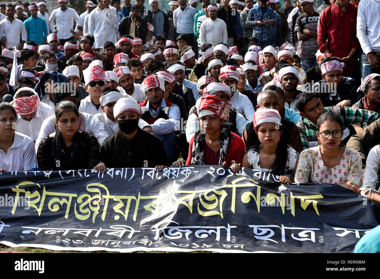 Guwahati, Assam, India. 23rd Jan 2019. Protest against the much debated Citizenship (Amendment) Bill 2016. Guwahati, Assam, India. 23 January 2019. The All Assam Students' Union (AASU) organises a mass agitation 'Bajra Ninad' in protest against the much debated Citizenship (Amendment) Bill 2016, proposal to provide citizenship or stay rights to minorities from Bangladesh, Pakistan and Afghanistan in India. Besides AASU, 30 other organizations of the state have taken part in the protest. Credit: David Talukdar/Alamy Live News - Stock Image
