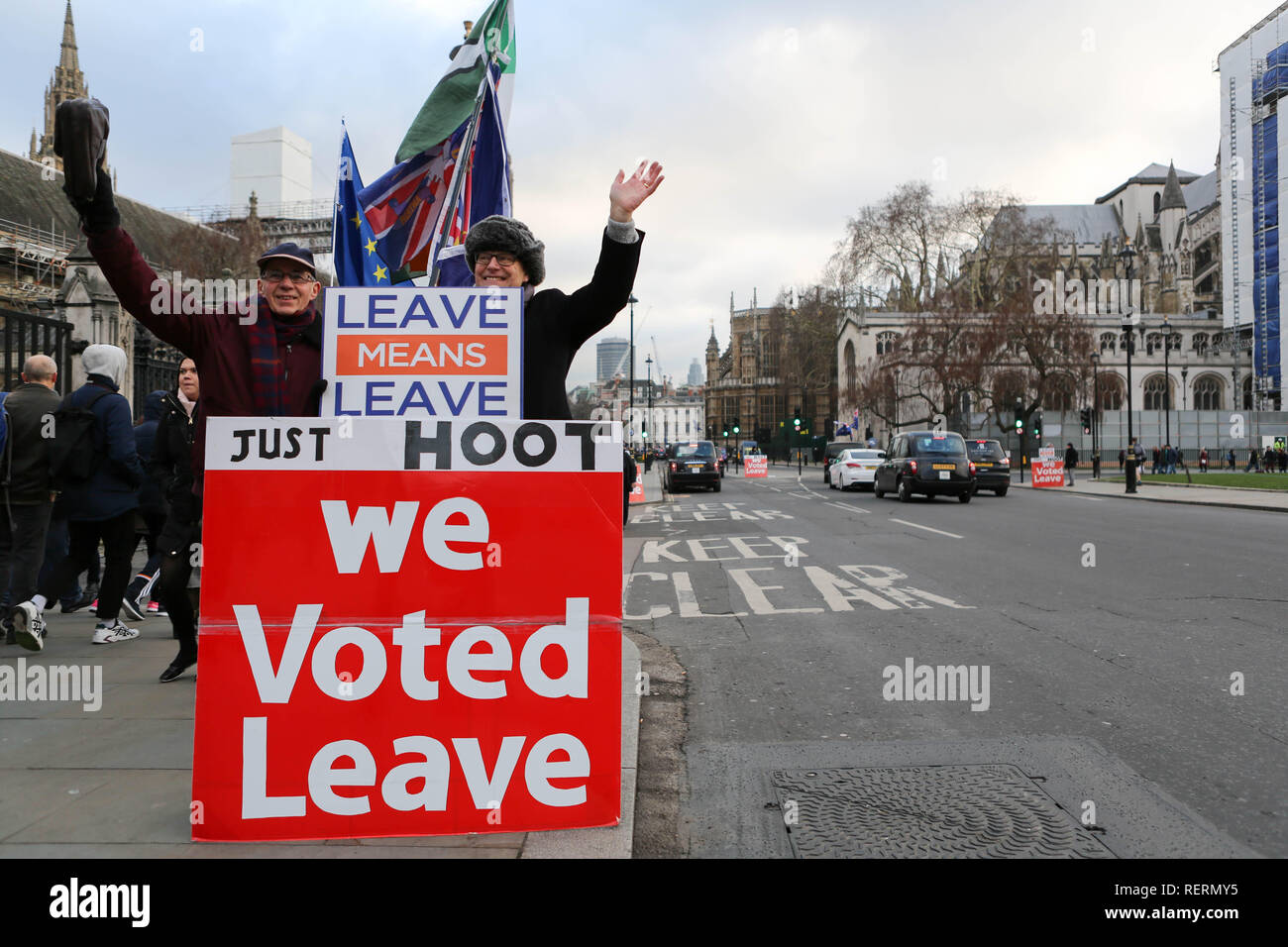 Westminster, London, UK. 23rd Jan, 2019. Daily protest outside Parliament for and against Brexit. Credit: Penelope Barritt/Alamy Live News Stock Photo