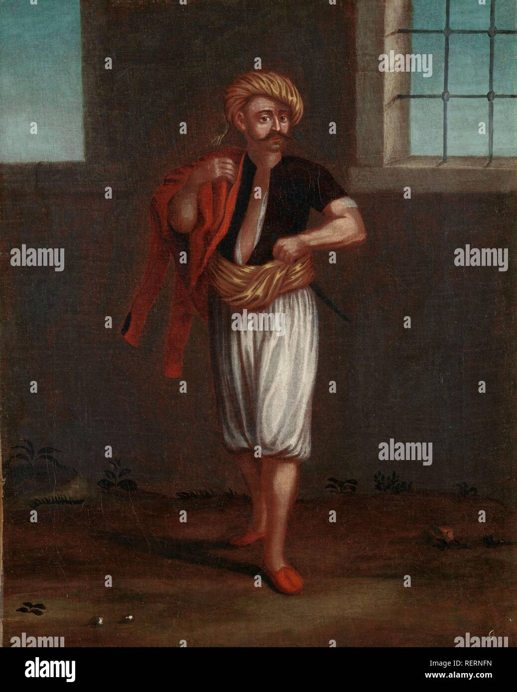 An Albanian Sailor. Dating: 1700 - 1737. Place: Istanbul. Measurements: h 39 cm × w 31 cm. Museum: Rijksmuseum, Amsterdam. Author: Jean Baptiste Vanmour (workshop of). - Stock Image