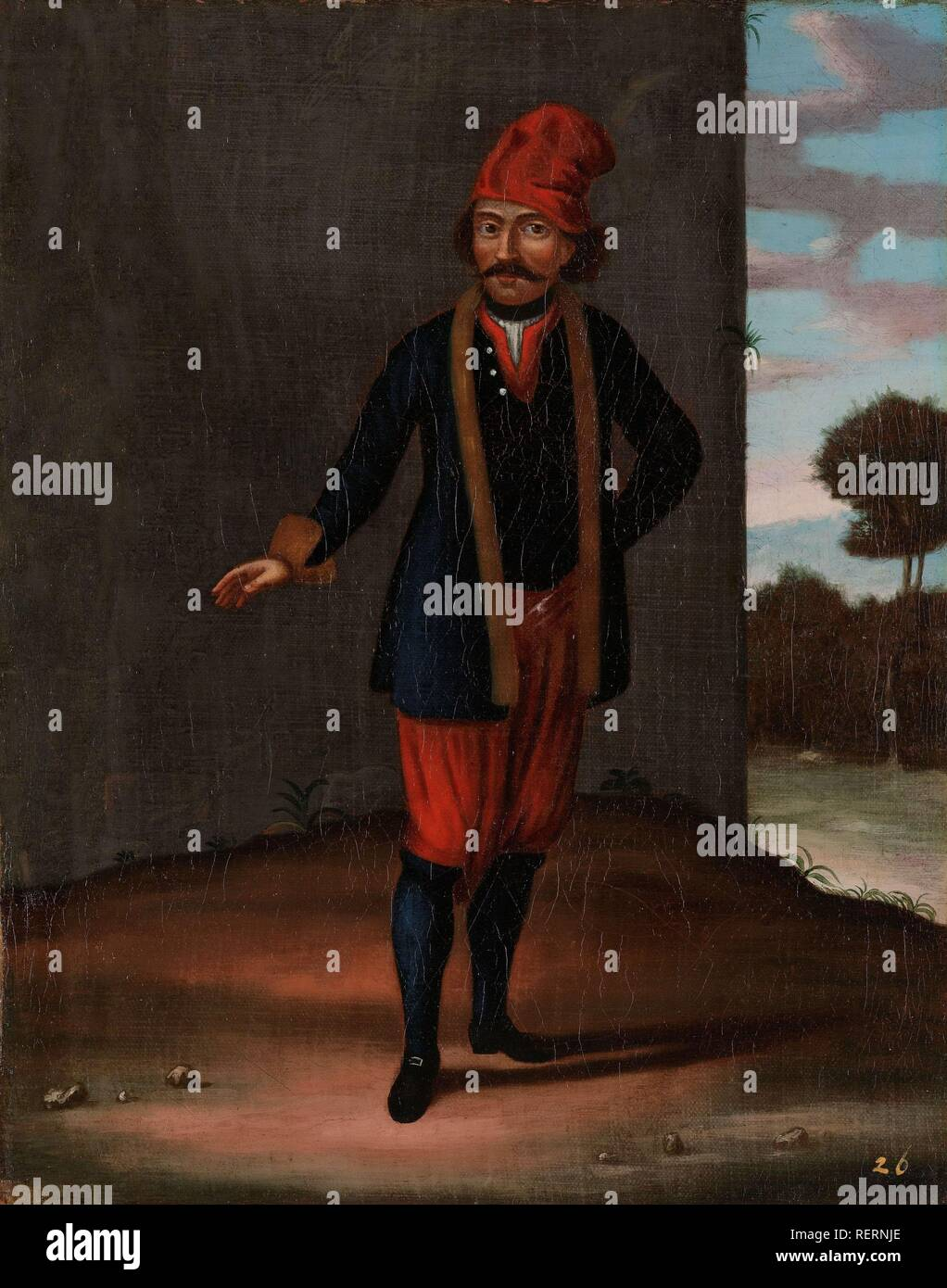 Man from the Island of Kithnos (Thermia). Dating: 1700 - 1737. Place: Istanbul. Measurements: h 39 cm × w 31 cm. Museum: Rijksmuseum, Amsterdam. Author: Jean Baptiste Vanmour (workshop of). - Stock Image