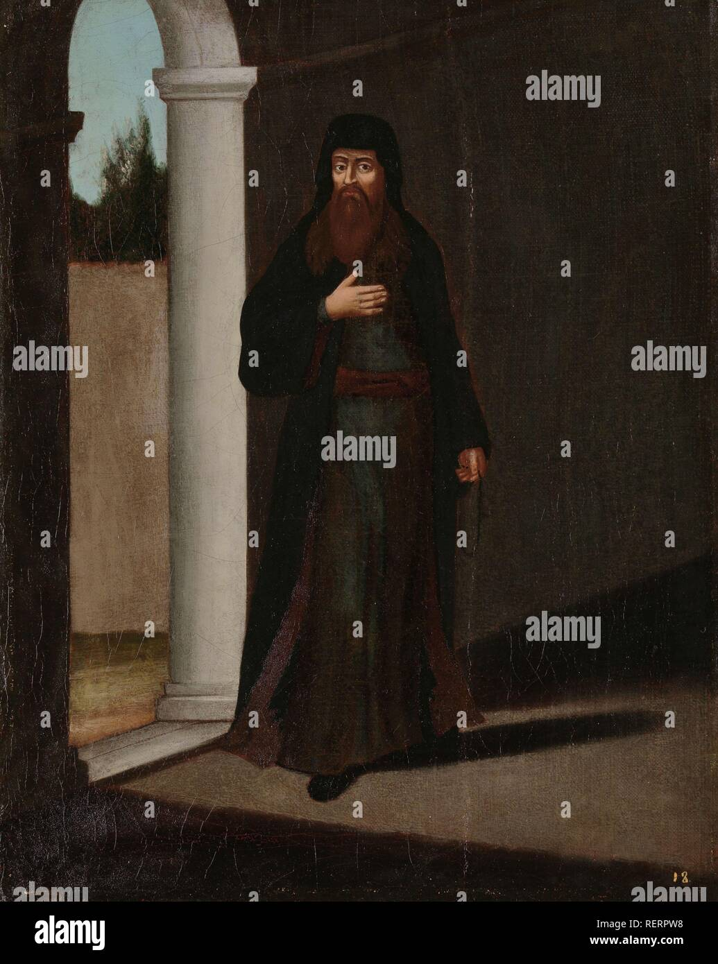A Greek Priest. Dating: 1700 - 1737. Place: Istanbul. Measurements: h 39 cm × w 31 cm. Museum: Rijksmuseum, Amsterdam. Author: Jean Baptiste Vanmour (workshop of). - Stock Image