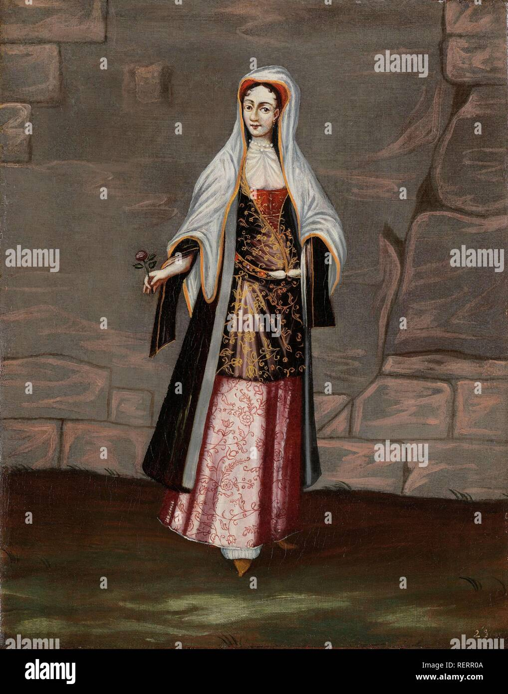 Woman from the Island of Mykonos. Dating: 1700 - 1737. Place: Istanbul. Measurements: h 39 cm × w 30.5 cm. Museum: Rijksmuseum, Amsterdam. Author: Jean Baptiste Vanmour (workshop of). - Stock Image