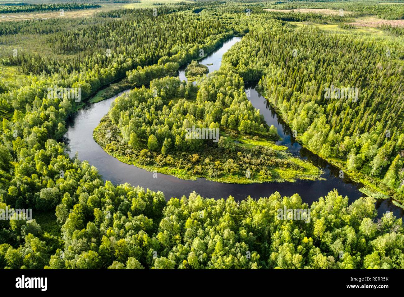 Drone view, aerial photo of a river loop, meander of the Kapsajoki in the boreal arctic forest, Kittilä, Lapland, Finland - Stock Image