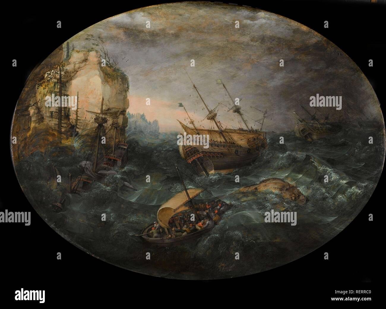 Shipwreck off a Rocky Coast. Schipbreuk op een rotsachtige kust. Dating: 1614. Measurements: support: h 64.5 cm × w 85.2 cm. Museum: Rijksmuseum, Amsterdam. Author: Adam Willaerts. - Stock Image