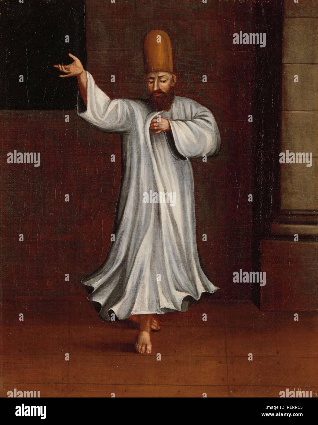 Dervish. Dating: 1700 - 1737. Place: Istanbul. Measurements: h 39.5 cm × w 31.5 cm. Museum: Rijksmuseum, Amsterdam. Author: Jean Baptiste Vanmour (workshop of). - Stock Image