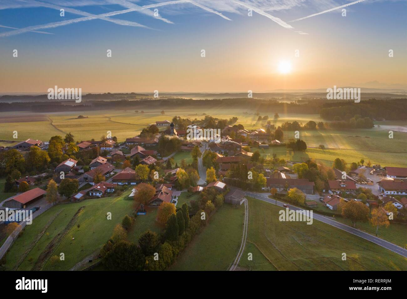 Sunrise, punching at Dietramszell, drone view, Tölzer Land, Upper Bavaria, Bavaria, Germany - Stock Image
