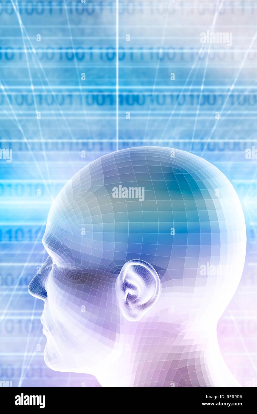 humanoid head and binary code background - Stock Image