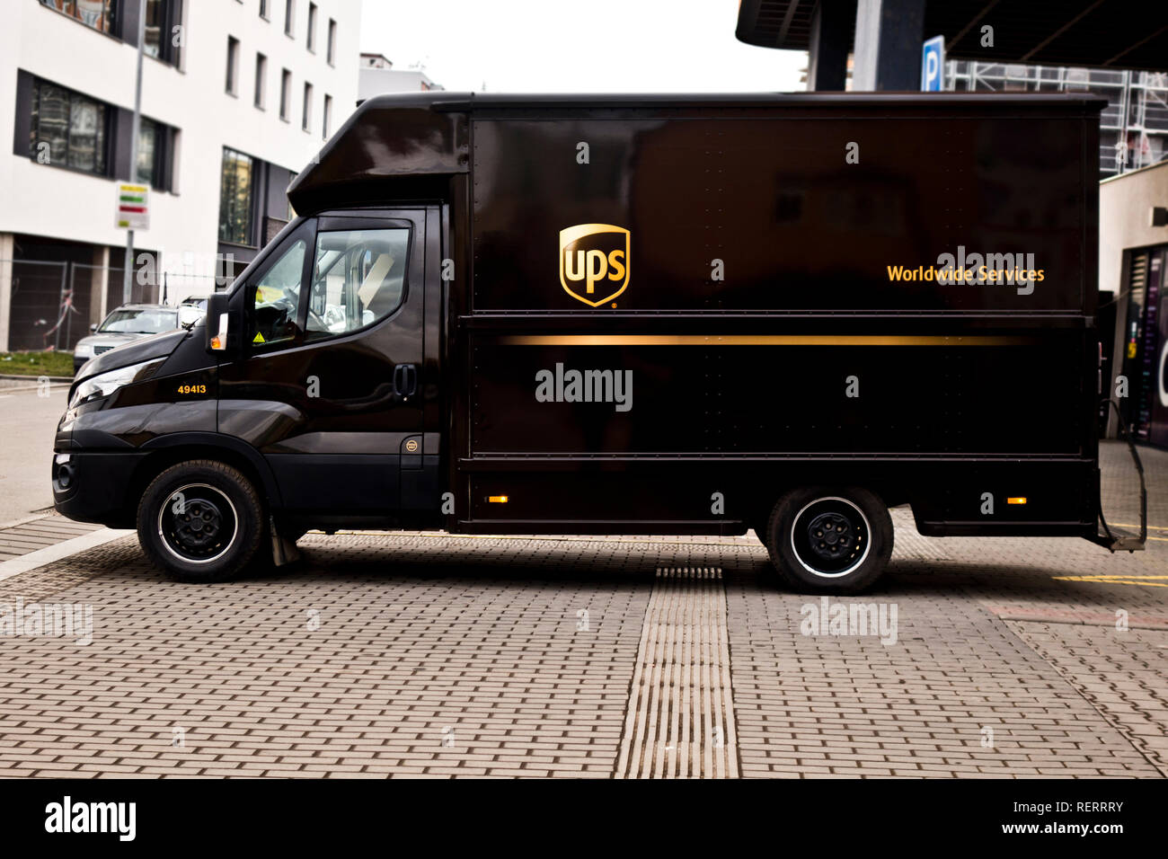 UPS truck for delivery - Stock Image