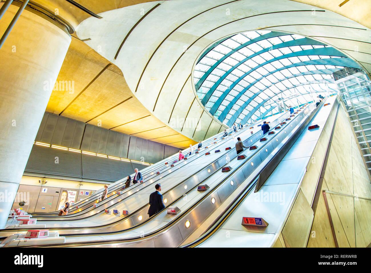 Escalators at Canary Wharf Underground Station, London, UK - Stock Image