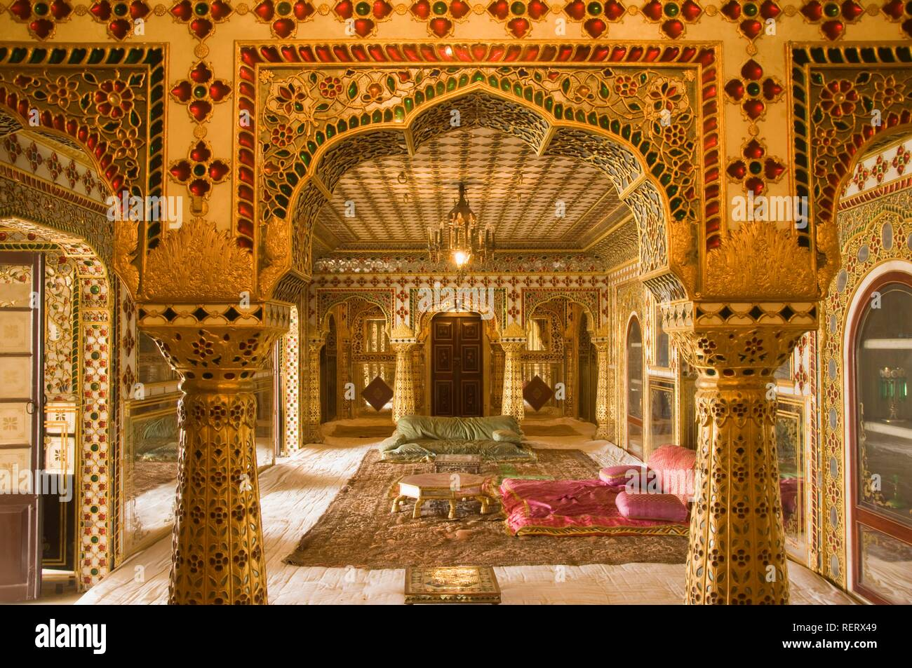 Jaipur, City Palace, Museum of Sawai Man Singh II inside the Chandra Mahal, Rajasthan, India, South Asia - Stock Image