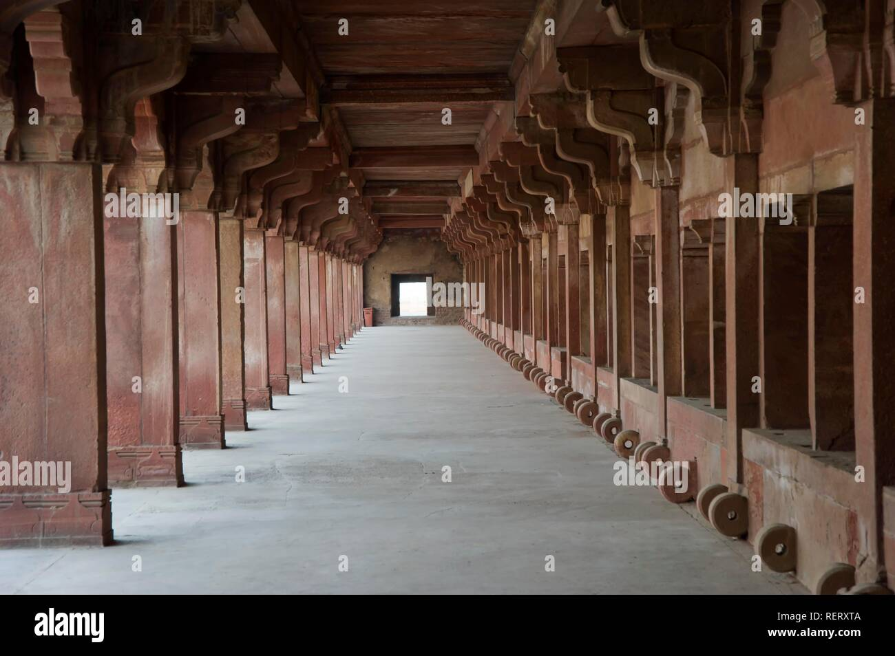 Lower Haramsara, accomodation of the servicing maids of the harem, UNESCO World Heritage Site, Fatehpur Sikri, Uttar Pradesh - Stock Image