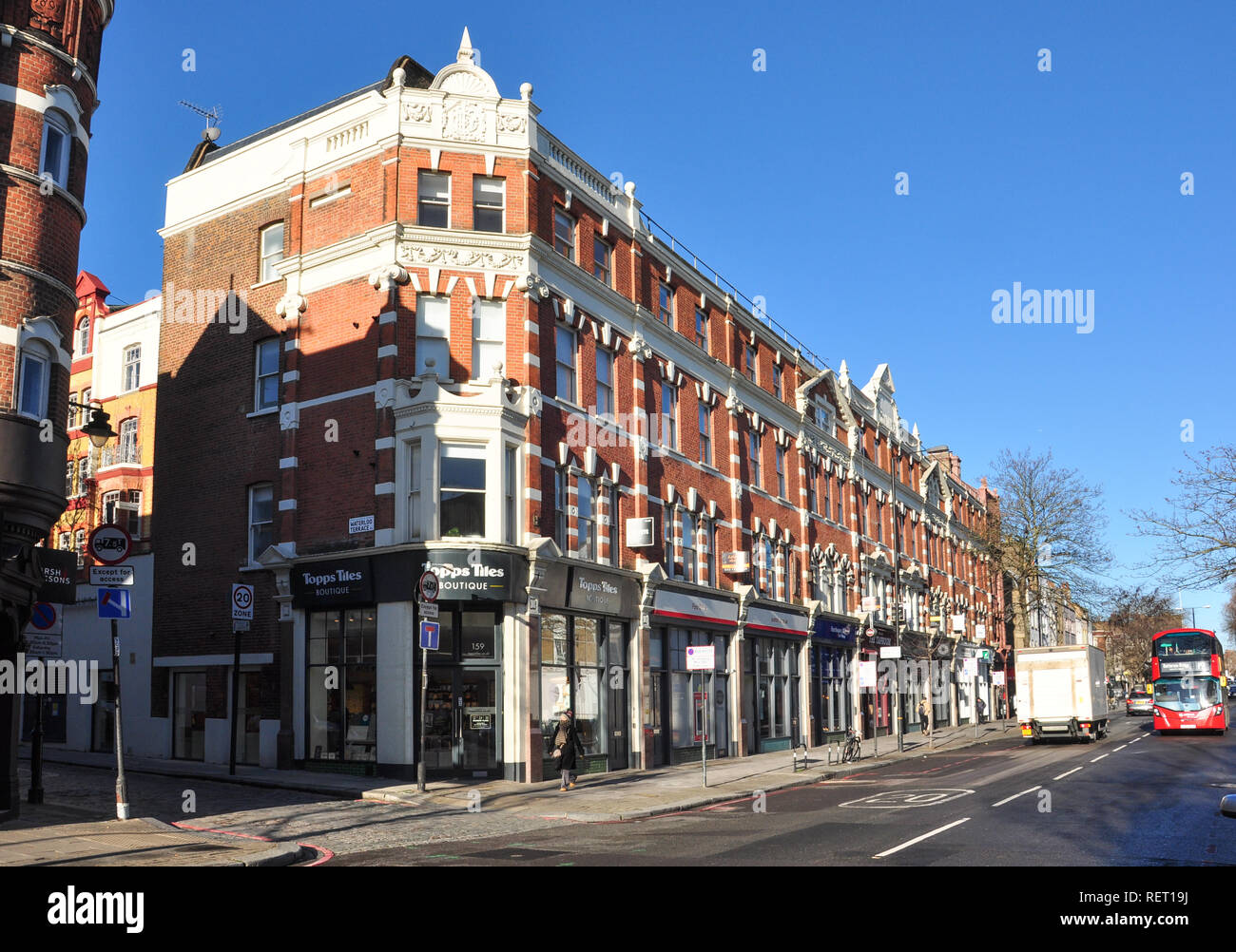 Upper Street and corner with Waterloo Terrace, Islington, London, England, UK - Stock Image