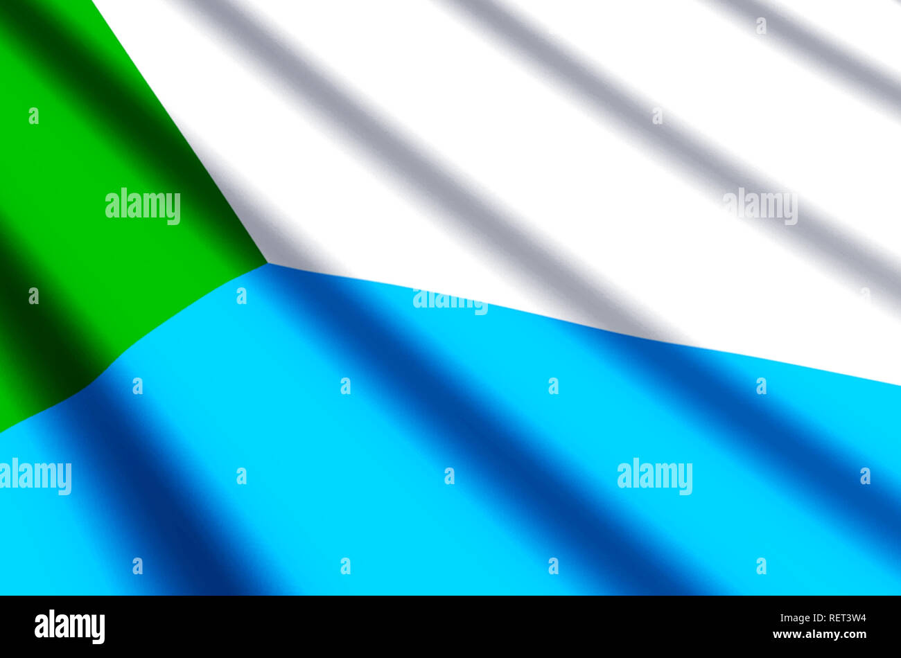Khabarovsk waving and closeup flag illustration. Perfect for background or texture purposes. - Stock Image
