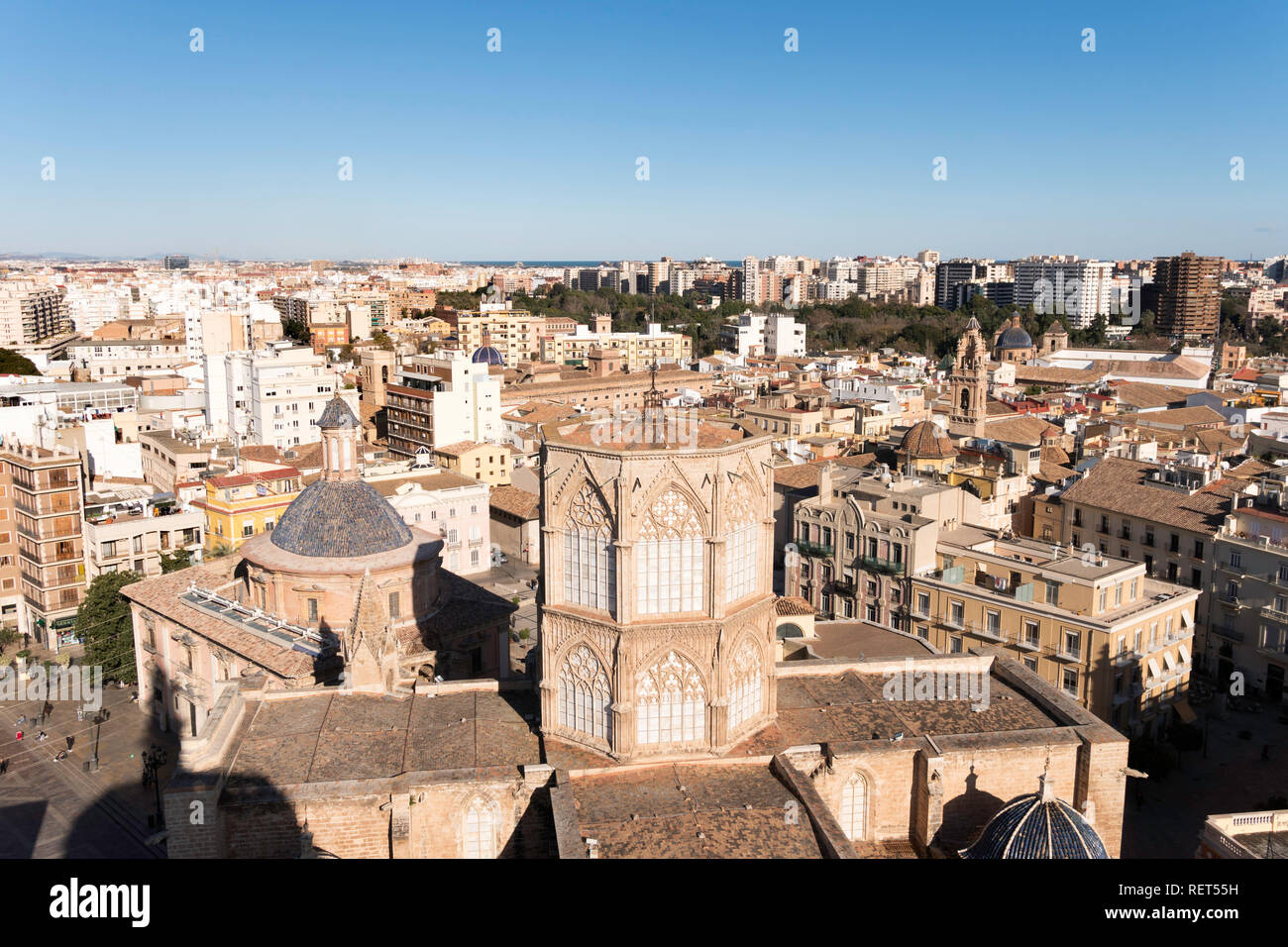 Looking down on Valencia cathedral from the top of the bell tower, Spain, Europe Stock Photo