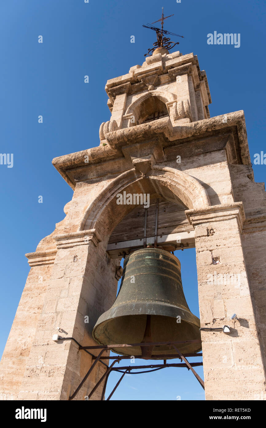 Close up of the bell within the bell tower of Valencia cathedral, El Miguelete, Spain, Europe Stock Photo
