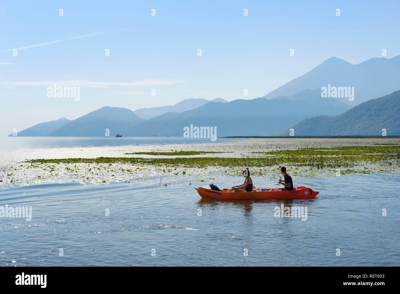 Canoe on Lake Skadar, National Park Lake Skadar, Bar Province, Montenegro - Stock Image