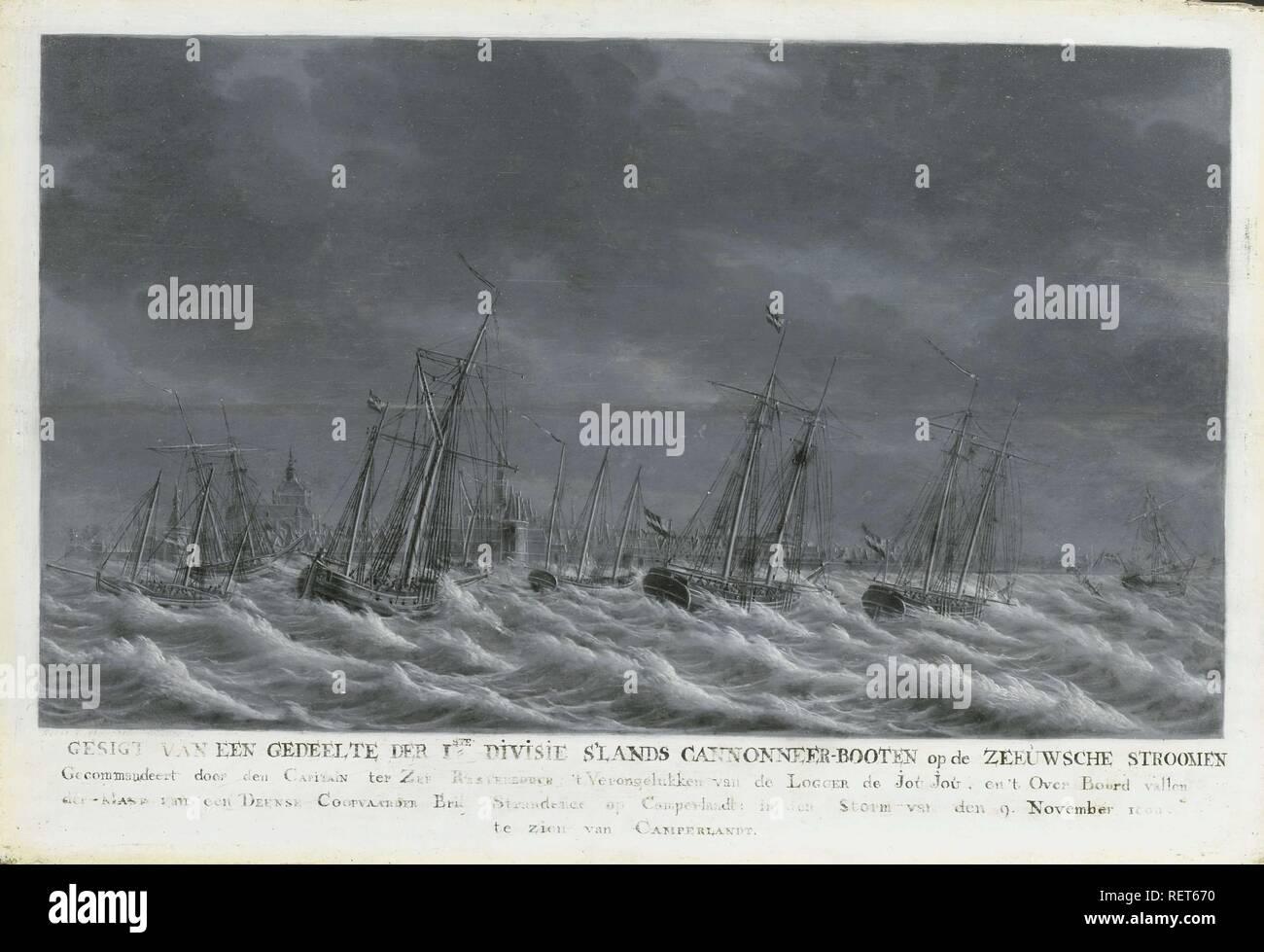 The Batavian Fleet off Veere, 1800. Dating: 1800 - 1809. Place: Middelburg. Measurements: h 31 cm × w 45 cm; d 4.5 cm. Museum: Rijksmuseum, Amsterdam. Author: Engel Hoogerheyden. - Stock Image