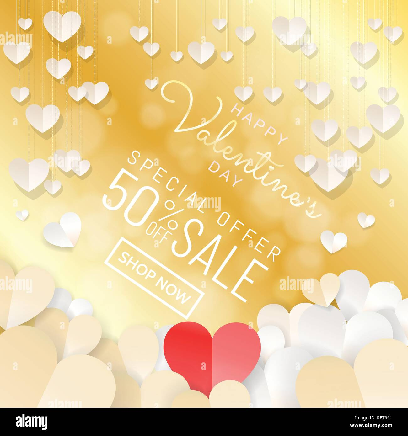 Happy Valentine's Day sale background banner with paper cut style decoration of hanging hearts and red paper heart at center design for web banner, sa - Stock Vector