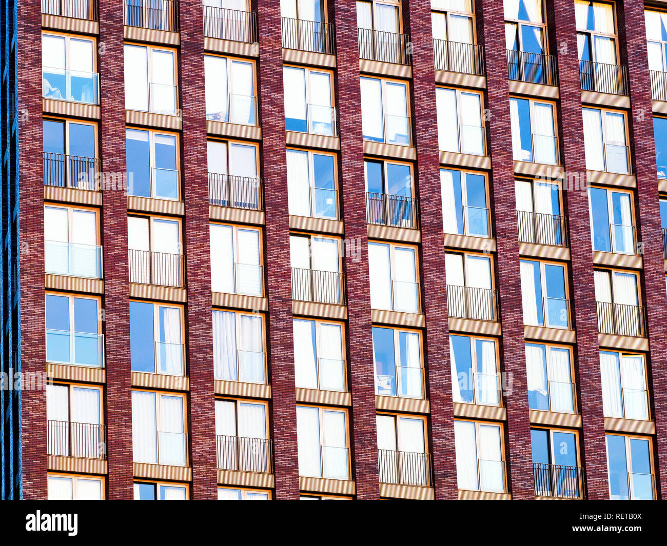 Embassy Gardens building facade,  residential and business development in the Nine Elms regeneration zone in London - Stock Image