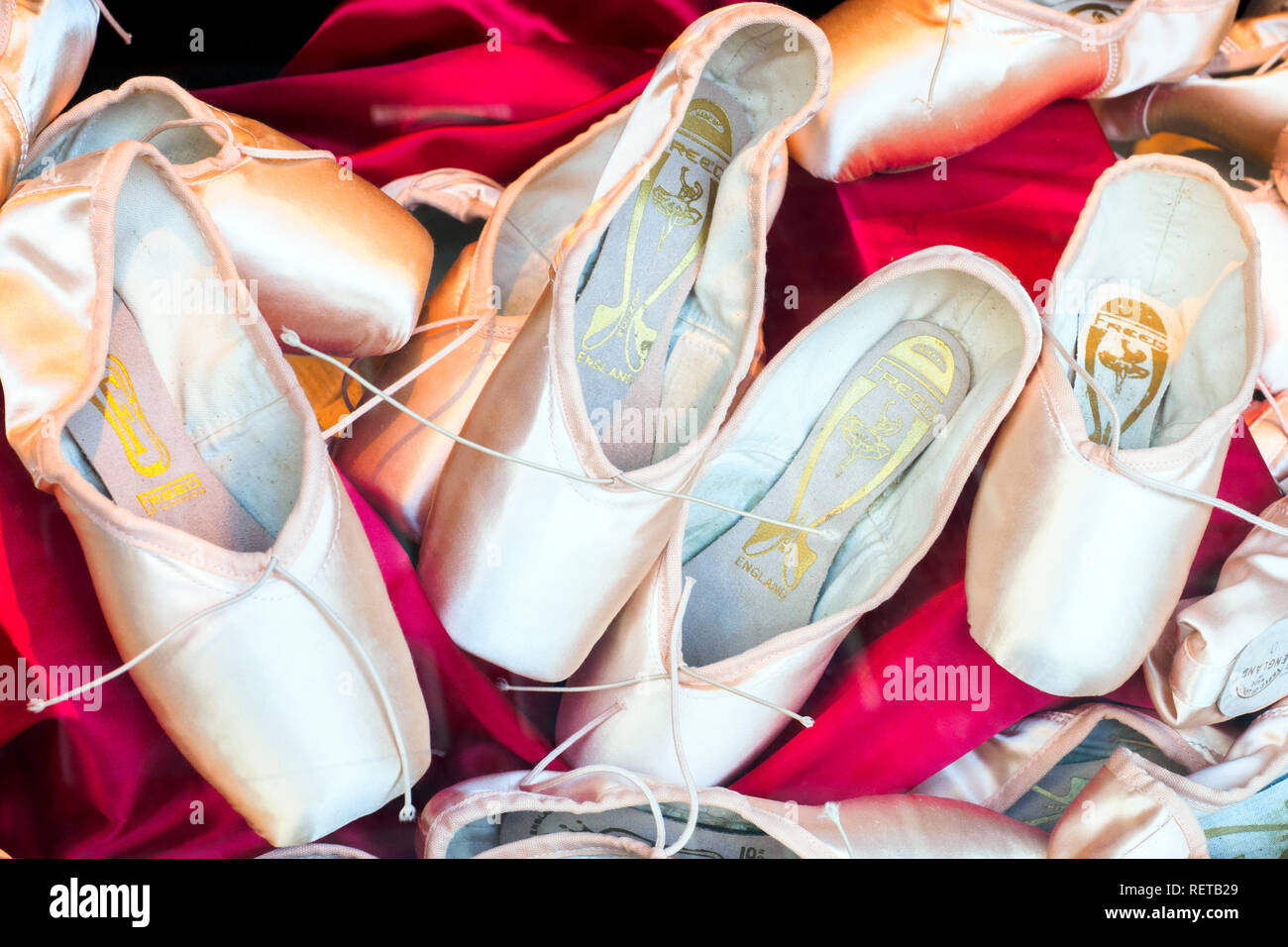 Pink ballet pointe shoes - London, England - Stock Image