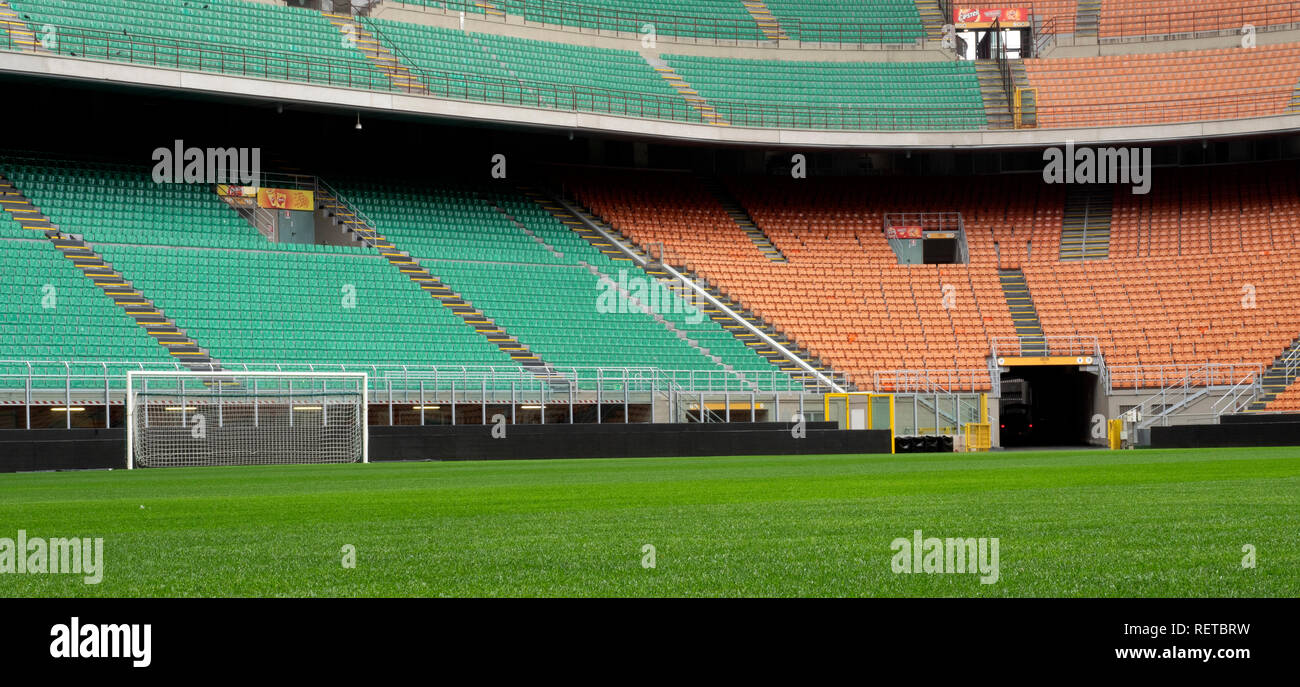Seating in the San Siro football stadium, Milan, Italy. Stock Photo