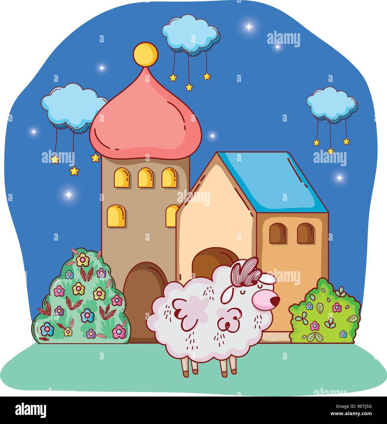 fluffy white sheep cartoon - Stock Vector
