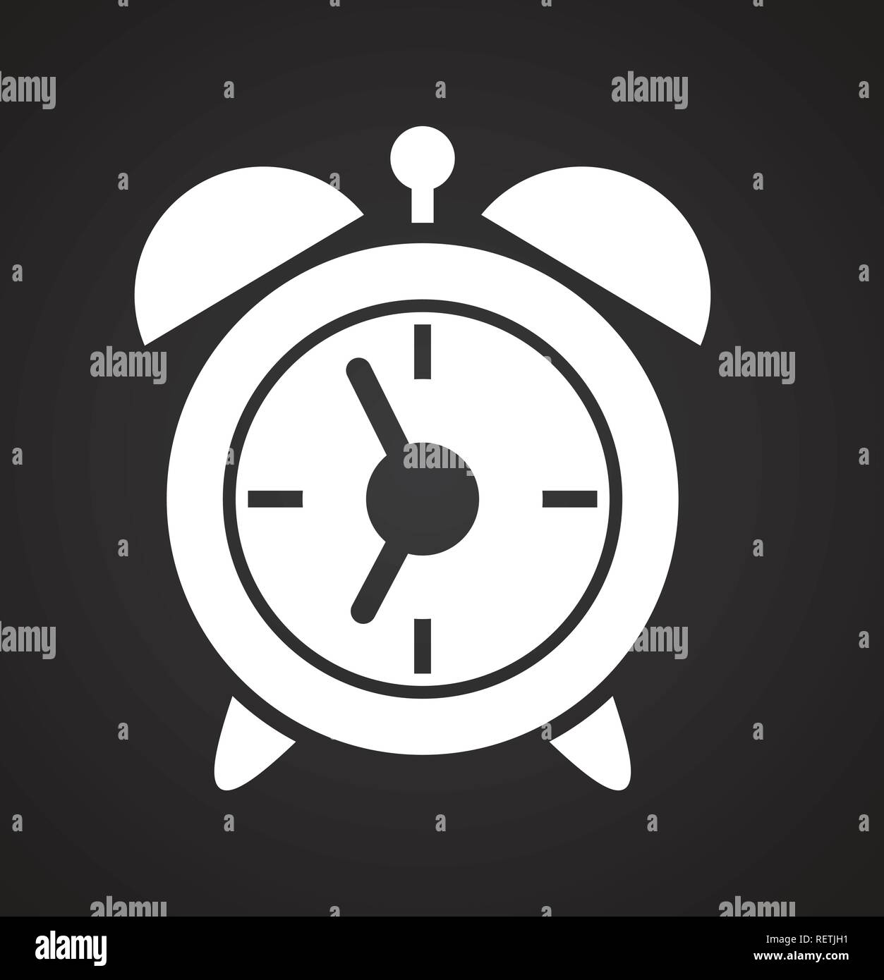 Alarm clock icon on black background for graphic and web design