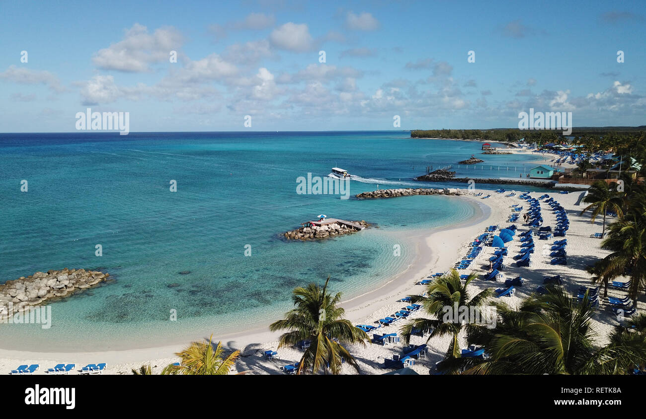 Drone shoot of beautiful parade beach on Caribbean island Princess Cays Stock Photo