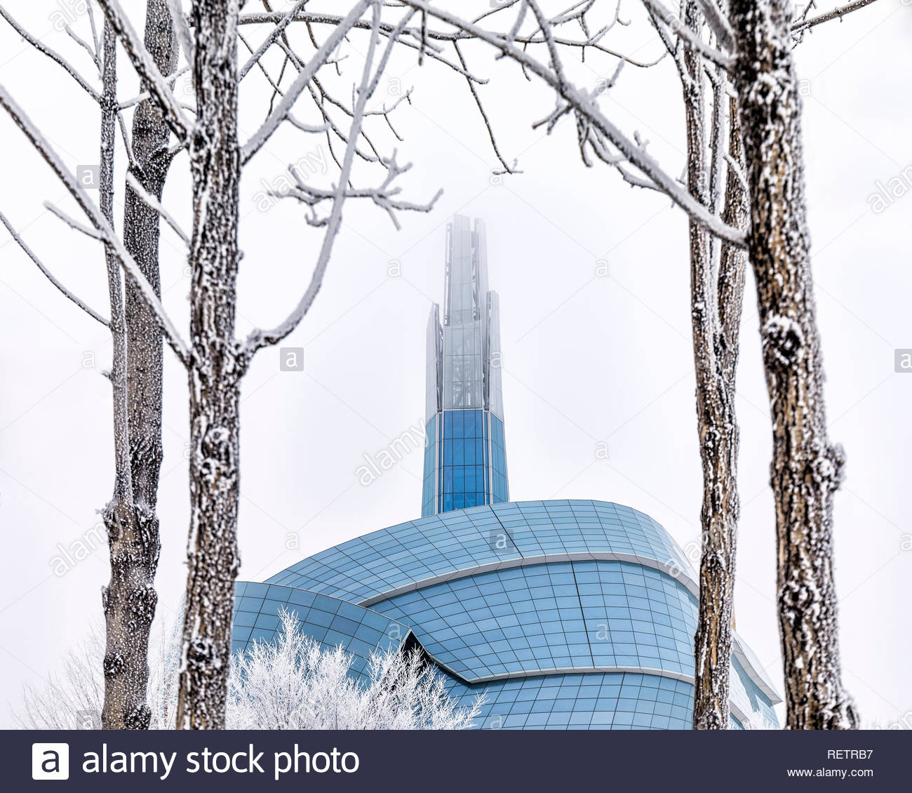 Canadian Museum for Human Rights on a frosty winter day, Winnipeg, Manitoba, Canada. - Stock Image