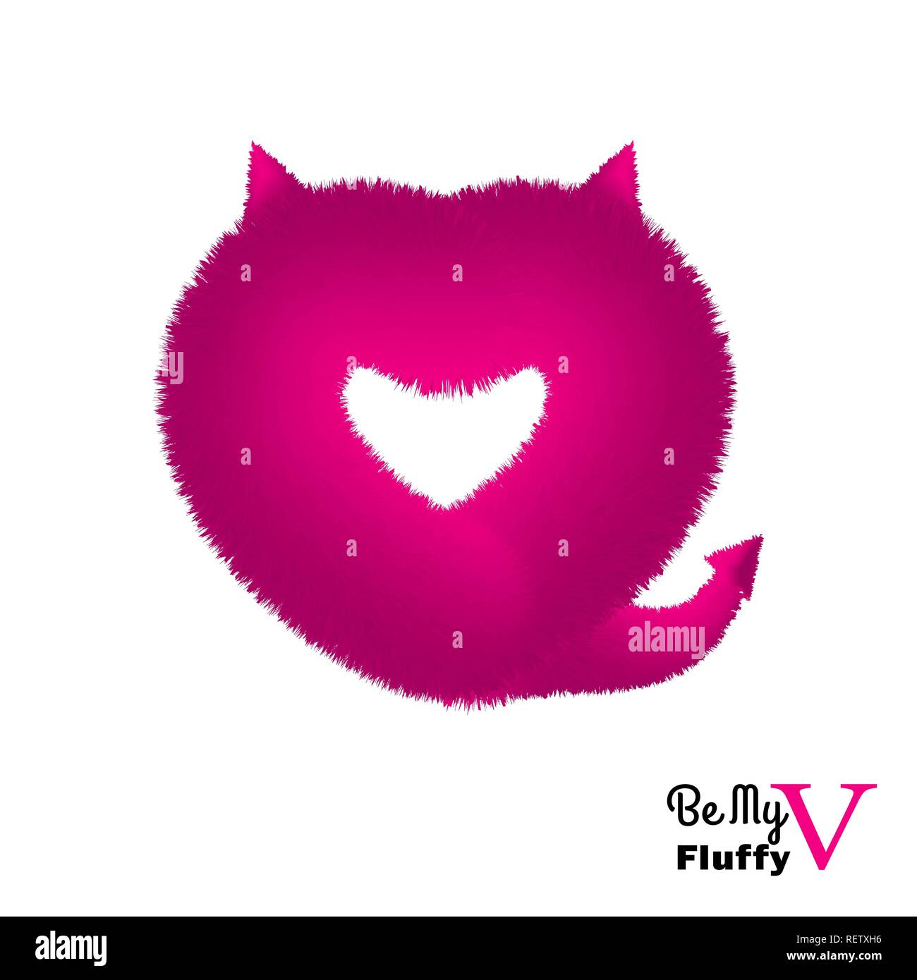 Cute instagram card with pink fluffy devil heart - Stock Vector