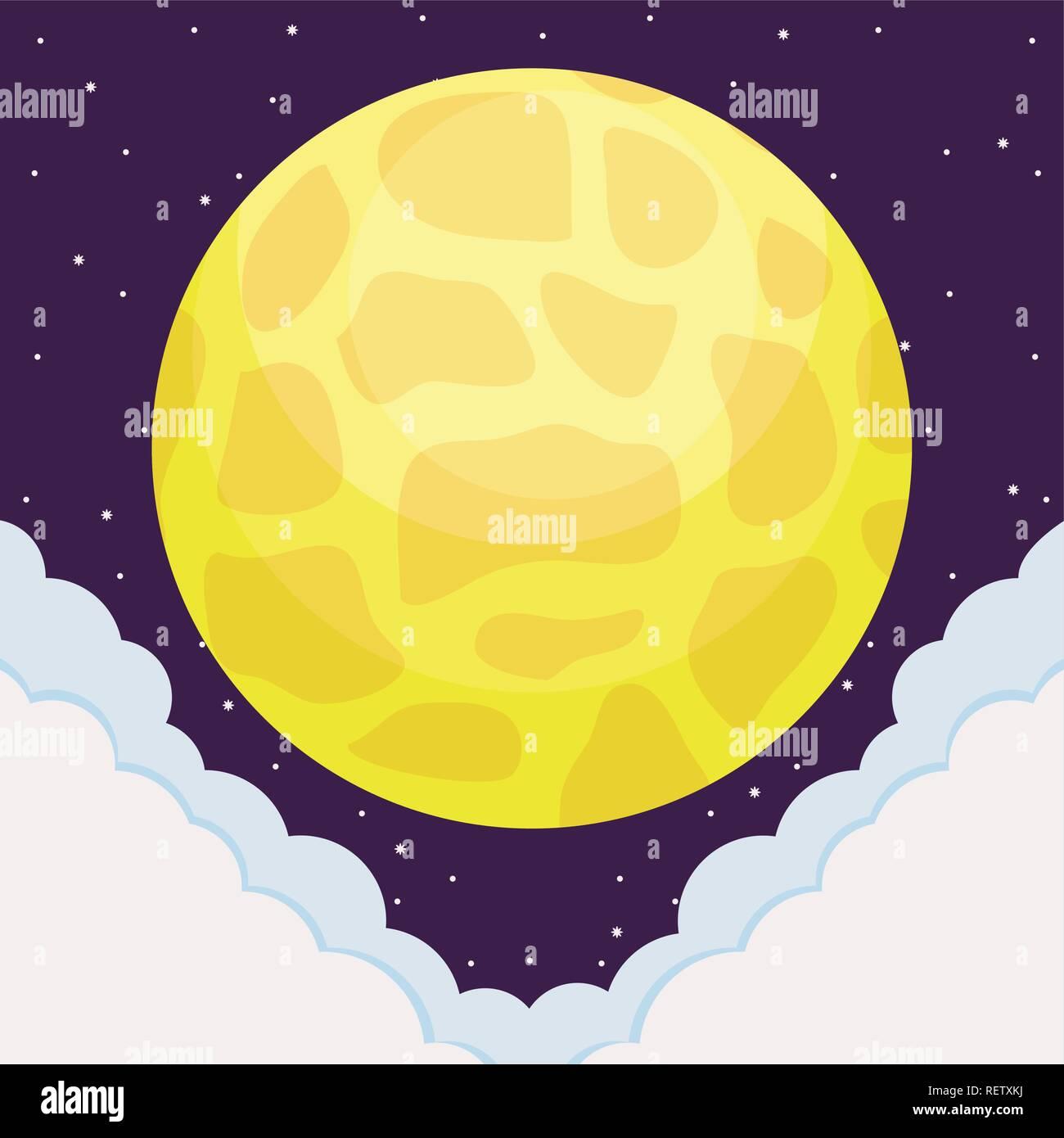 venus planet over space background, vector illustration - Stock Image
