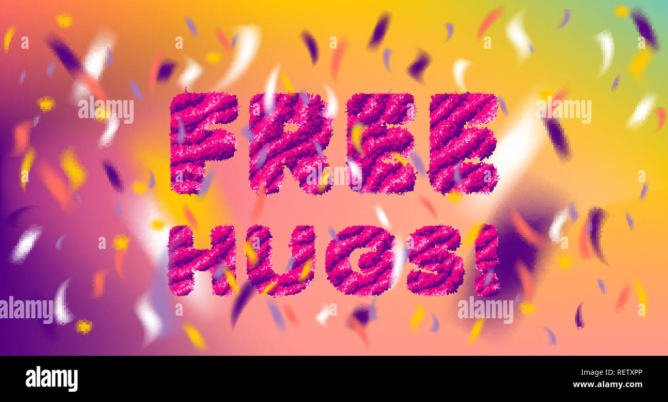 Free Hugs striped fluffy lettering and colored confetti - Stock Vector
