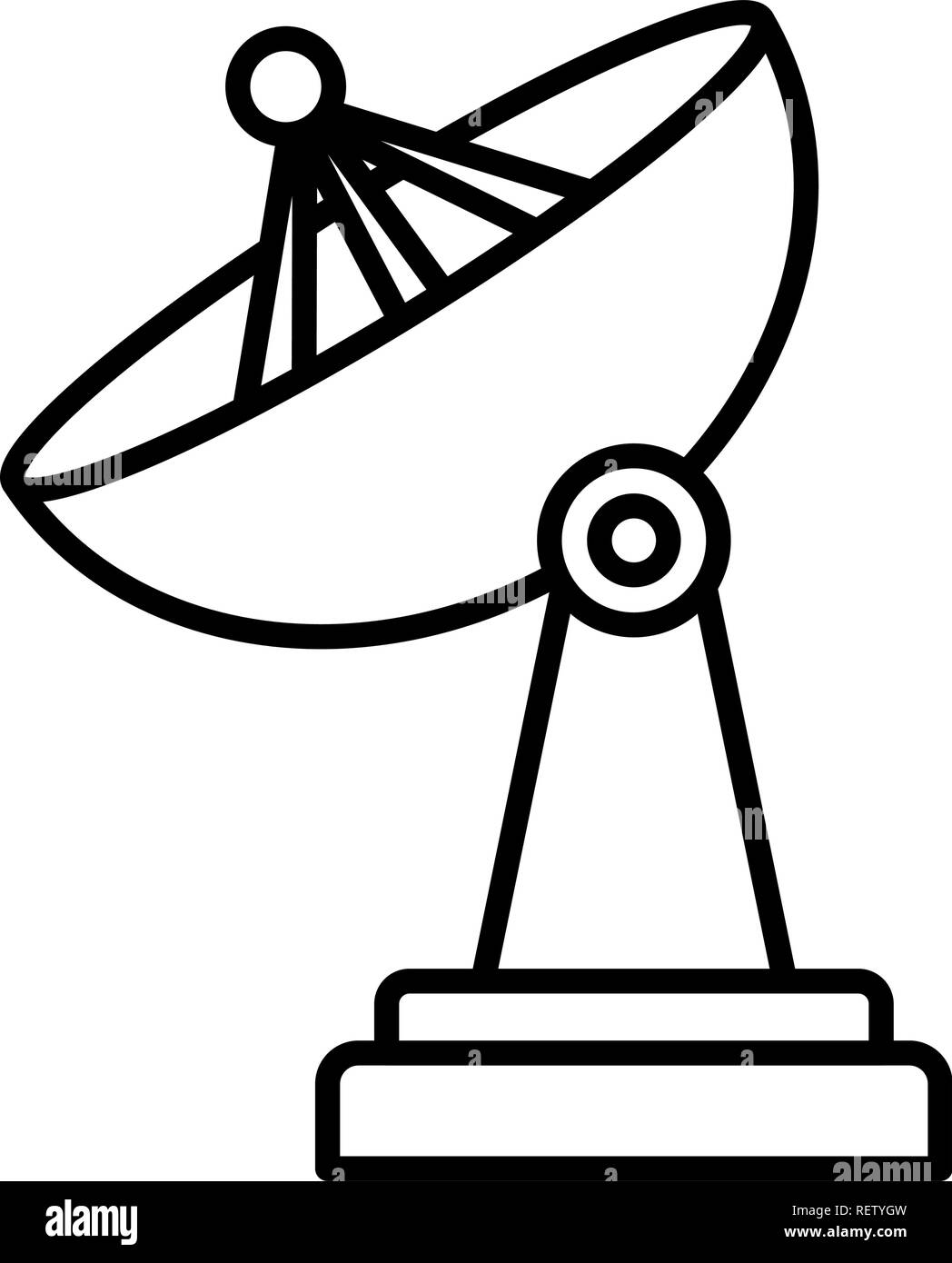 satellite dish icon over white background, vector illustration - Stock Image