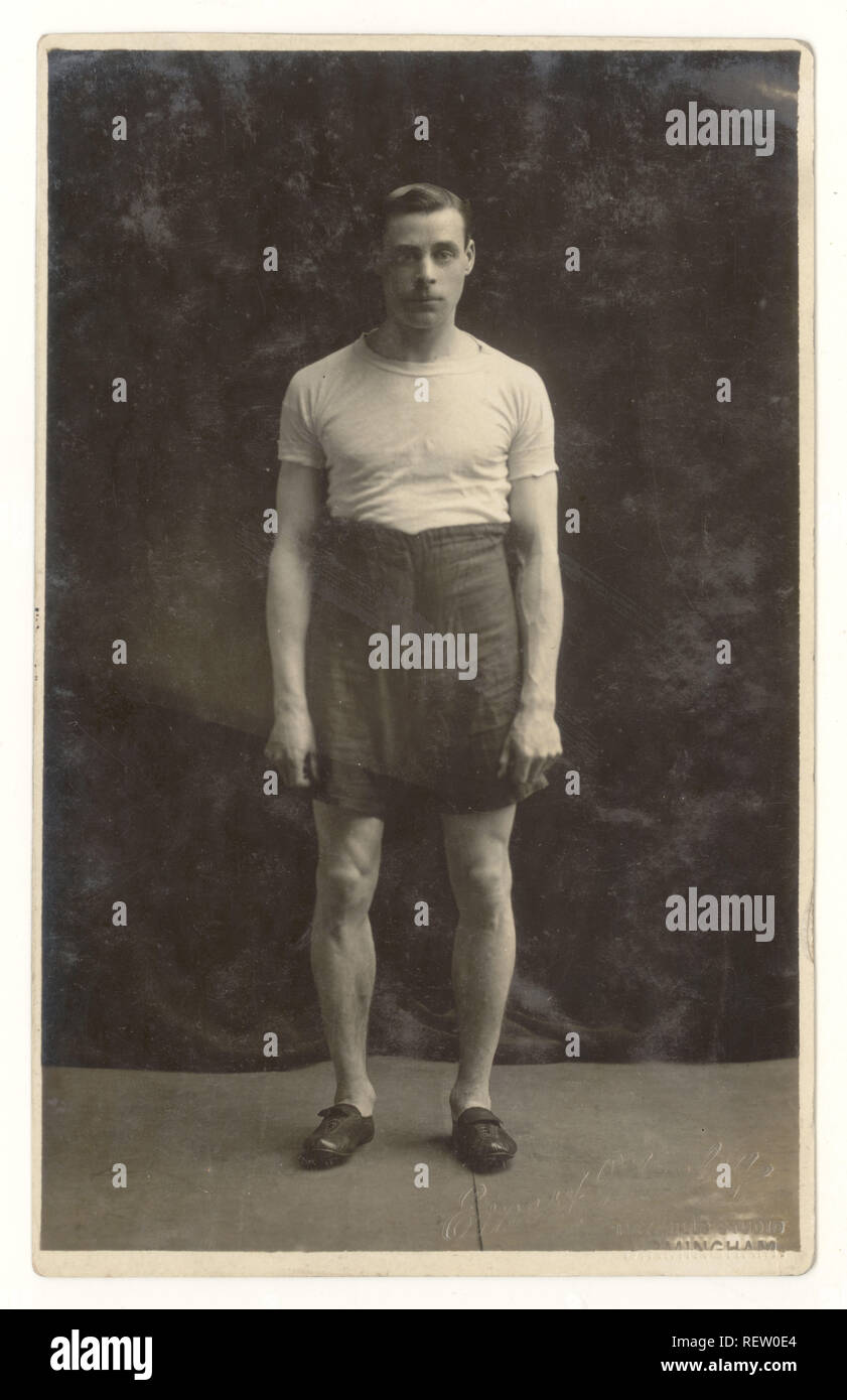 Postcard portrait by Ernest Manley of young athlete, spikes on shoes, Hay Mills Studio Birmingham, U.K. circa 1910, 1915 - Stock Image
