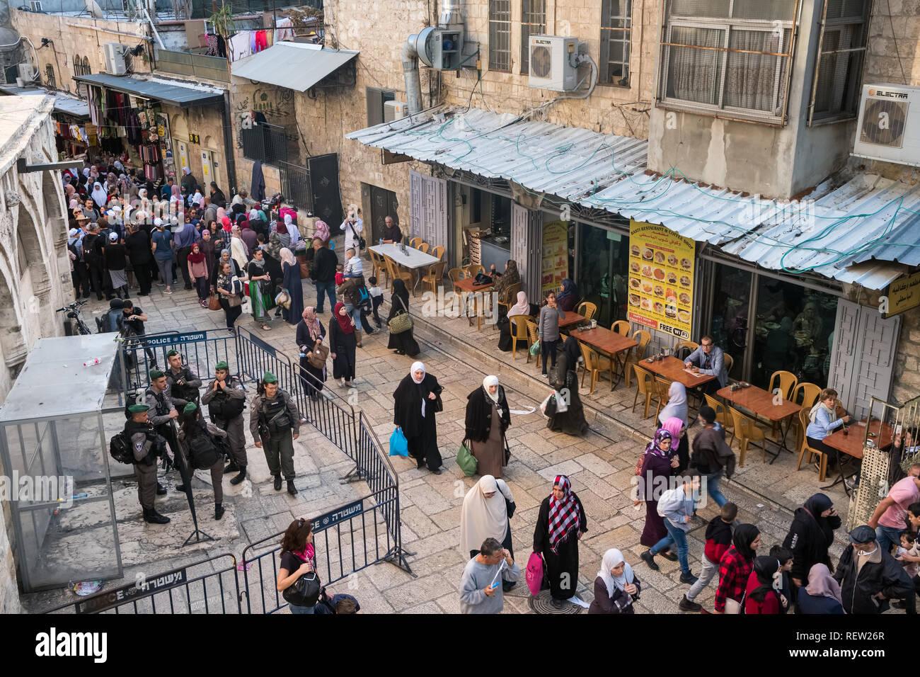 Jerusalem, Israel - November 20, 2018: Military checkpoint on touristy via Dolorosa street in Jerusalem, Israel. - Stock Image