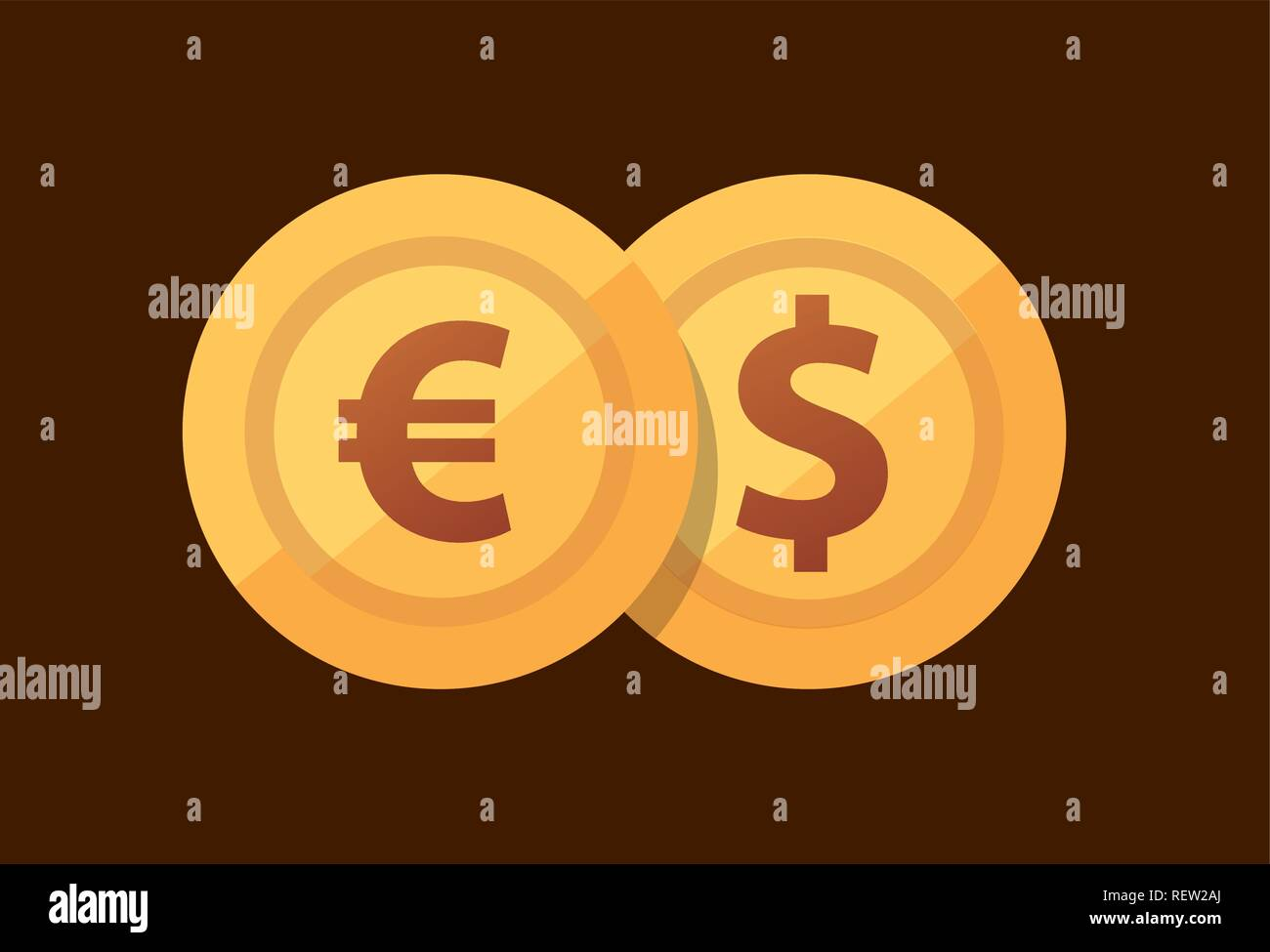 Pair Euro - Dollar - vector icon with golden coins in flat style. - Stock Vector