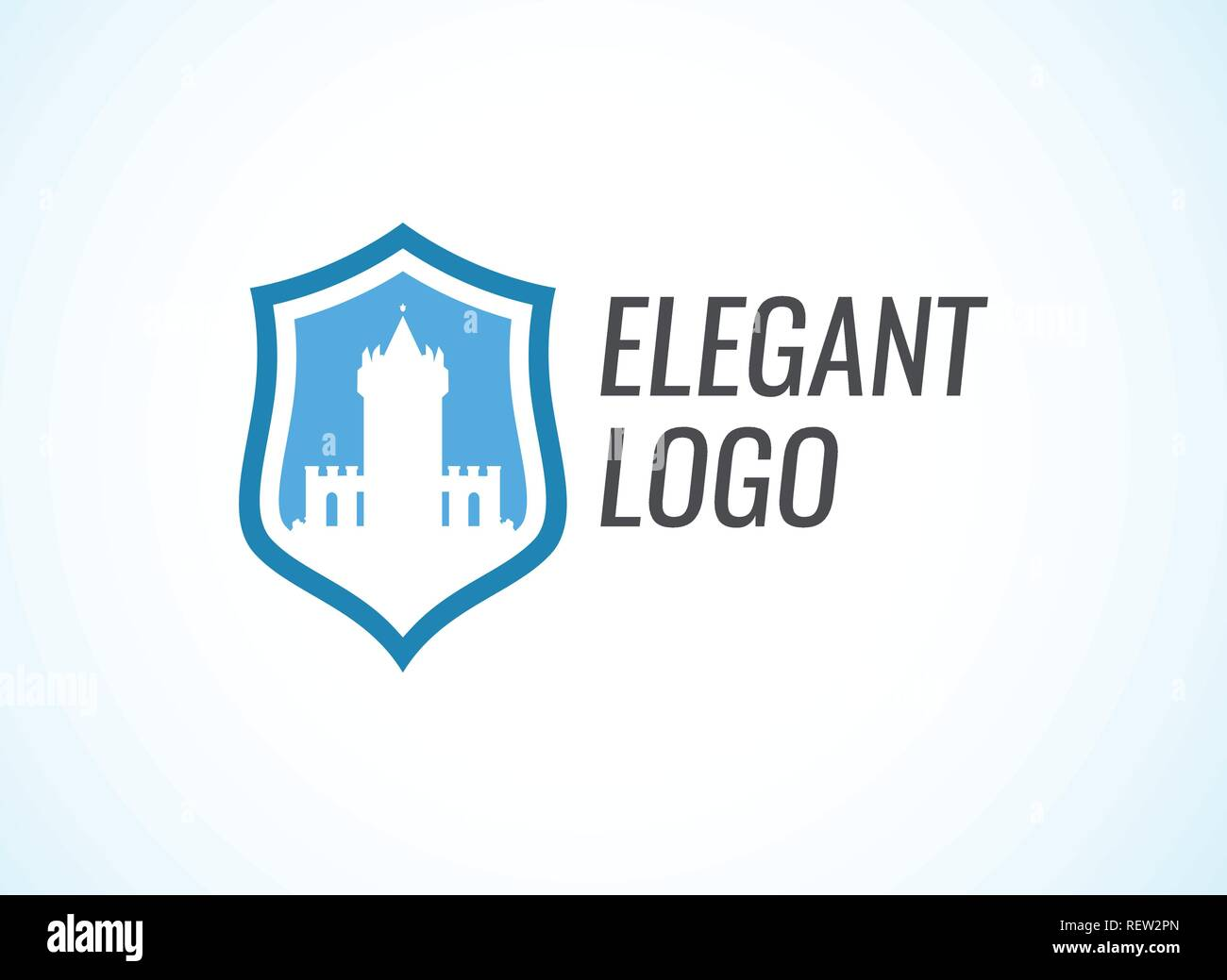 Blazon with Stronghold Castle on coat of arms flat style in blue color with caption - Stock Vector