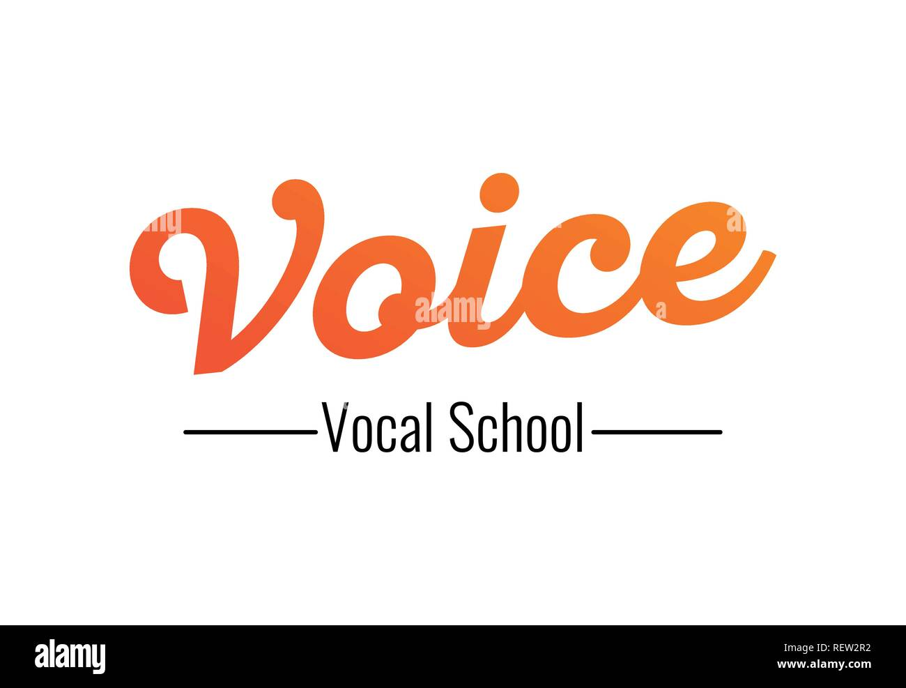Voice - logo for Vocal School, vector illustration on white transparent background. - Stock Image