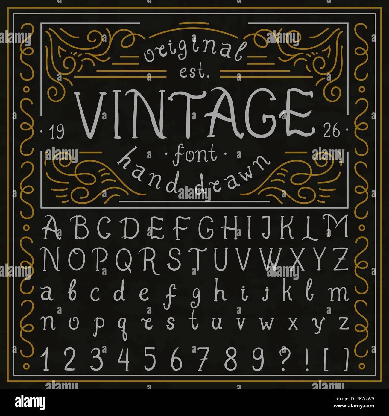 Vintage whiskey font  Handwritten alphabet letters  Decorative Sign