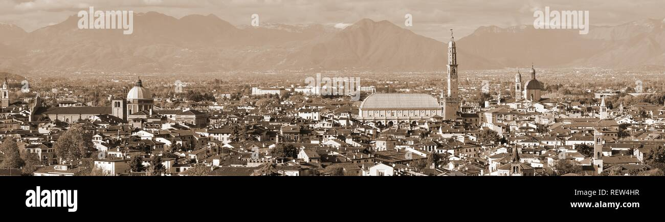 view of Vicenza City in Italy with speia toned effect and the most famous monument called Palladian Basilica - Stock Image