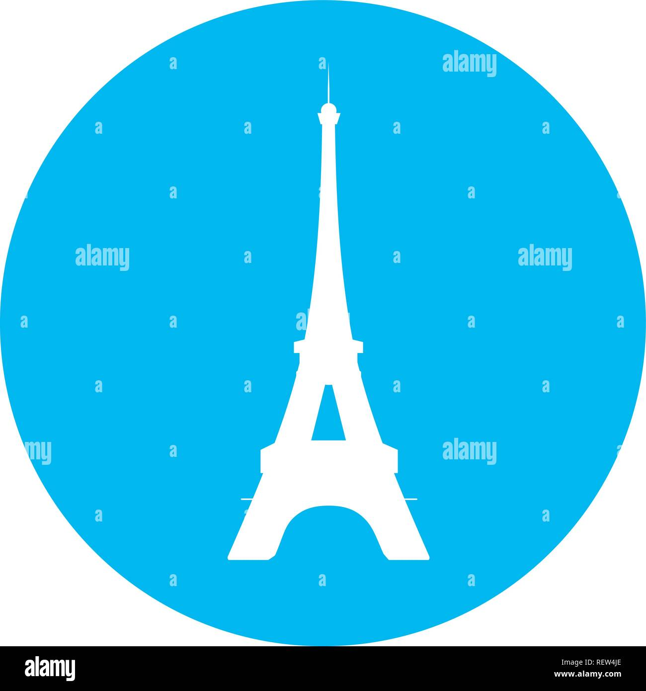 eiffel tower blue icon - Stock Vector