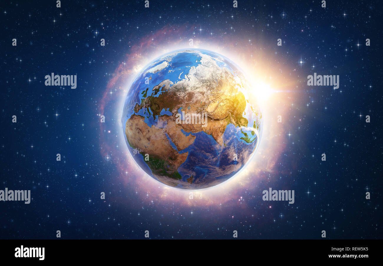 Global warming on Planet Earth illustrated from space. 3D illustration - Elements of this image furnished by NASA. - Stock Image