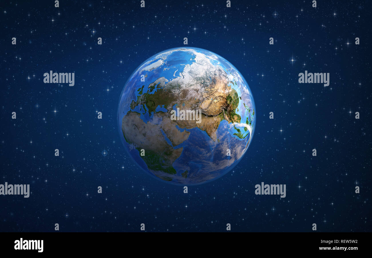 Planet Earth in space, focused on Europe and Asia. 3D illustration - Elements of this image furnished by NASA. - Stock Image