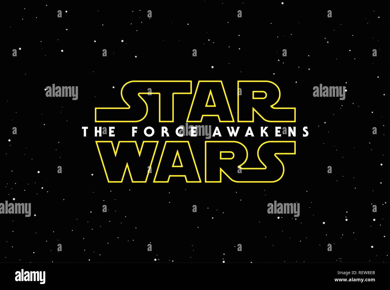 Movie Poster Film: Star Wars: Episode Vii - The Force Awakens (USA 2015)   Director: J.J. Abrams 14 December 2015  SAL45906 Allstar Picture Library/DISNEY/LUCASFILM  **Warning**  This Photograph is for editorial use only and is the copyright of DISNEY/LUCASFILM  and/or the Photographer assigned by the Film or Production Company & can only be reproduced by publications in conjunction with the promotion of the above Film. A Mandatory Credit To DISNEY/LUCASFILM is required. The Photographer should also be credited when known. No commercial use can be granted without written authority from the Fil - Stock Image