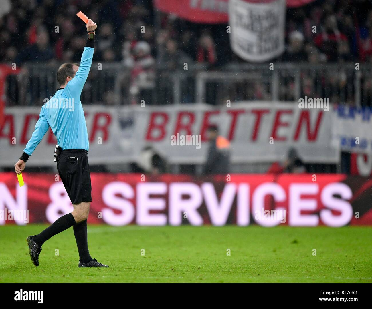 Referee Marco Fritz shows yellow-red card, Allianz Arena, Munich, Bavaria, Germany - Stock Image