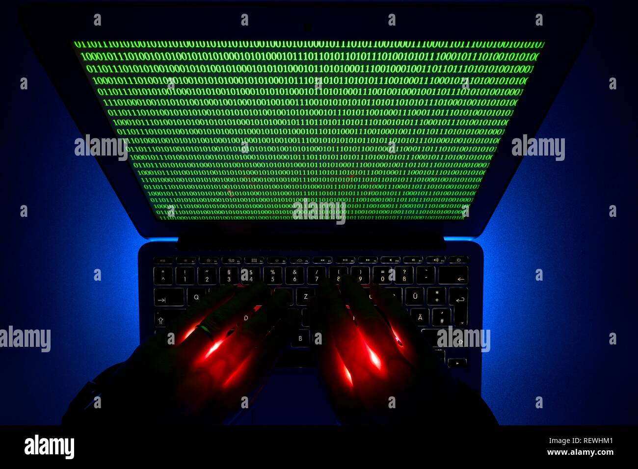 Hands on Computer Keyboard, Symbol Image Cybercrime, Computer Crime, Privacy, Baden-Württemberg, Germany - Stock Image